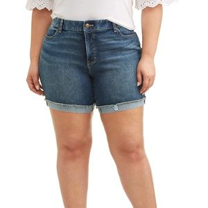 Terra & Sky Women's Plus  7 in Denim Jean Shorts